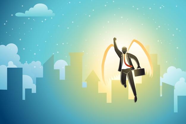 Een zakenman die met vleugels op gebouwenachtergrond vliegt