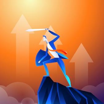 Een zakenman die op een superheld lijkt, toont het zwaard op de berg.