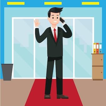 Een zakenman die telefoon van zijn bureau ontvangt