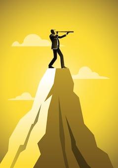 Een zakenman die telescoop bovenop de berg gebruikt. bedrijfsconcept illustratie