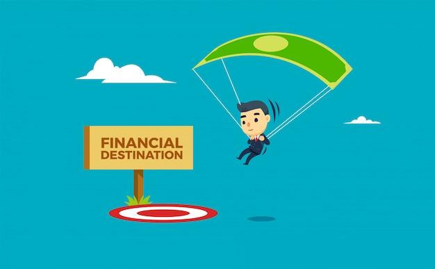 Een zakenman die ter plaatse met behulp van parachute landt. vector illustratie