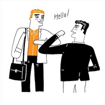 Een zakenman die zijn partner op een nieuwe, normale manier begroet.