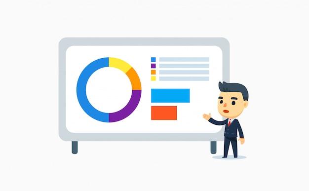 Een zakenman doet een presentatie. vector illustratie