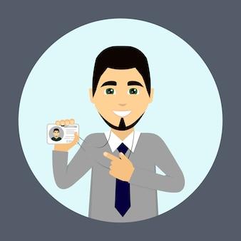 Een zakenman draagt een insigne. werknemer van bedrijf.