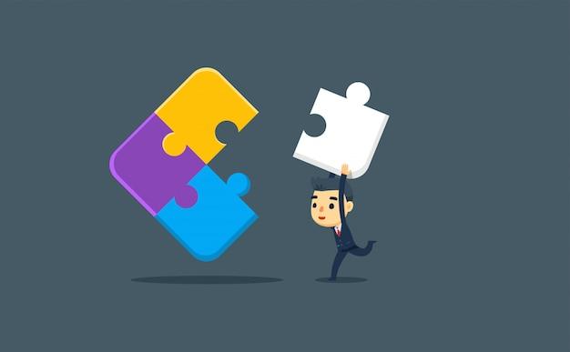 Een zakenman draagt het laatste puzzelstuk. vector illustratie