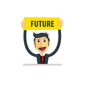 Een zakenman gaat naar de toekomst illustratie