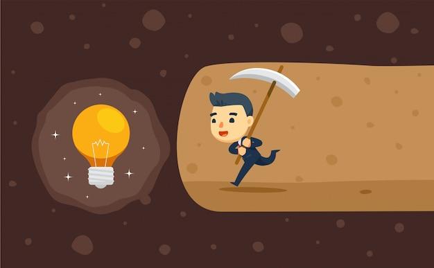 Een zakenman graaft een grot voor een ideeschat. vector illustratie