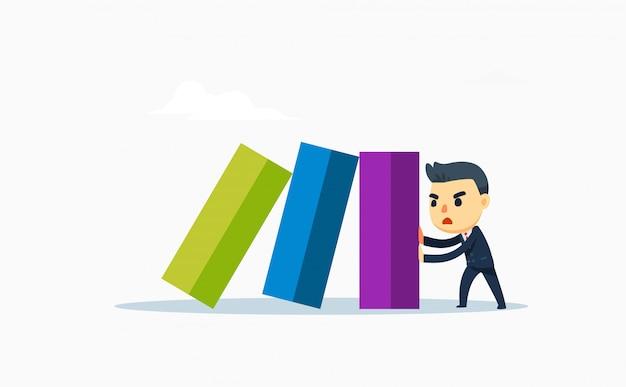 Een zakenman houdt de laatste domino tegen. vector illustratie