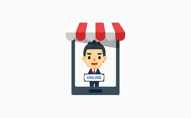 Een zakenman houdt een bord in de online markt. vector illustratie