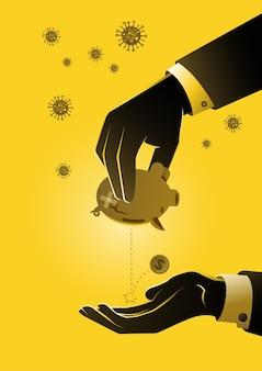 Een zakenman in handen die spaarvarken schudt fall money