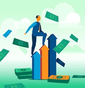 Een zakenman klimt de verkoopstatistieken