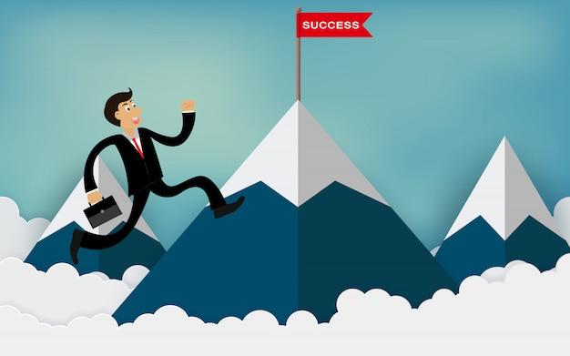 Een zakenman loopt naar de berg en gaat naar de rode vlag