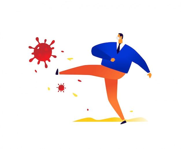 Een zakenman met een medisch masker schopt de bacterie van het coronavirus. . geen ziekte en dood. overwinning op de chalera. de pandemie is verdwenen. bedrijf geeft niet op voor covid-19.