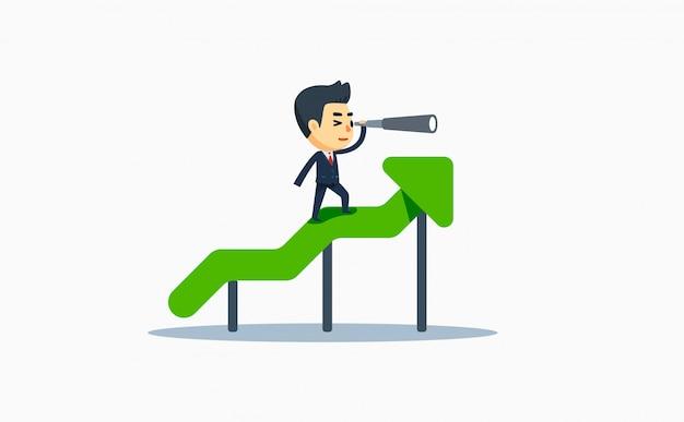 Een zakenman met verrekijker in stijgende grafische grafiek. vector illustratie