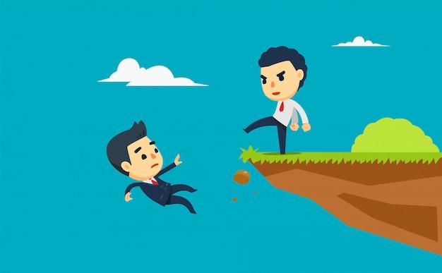Een zakenman schopt een andere uit de klif. vector illustratie