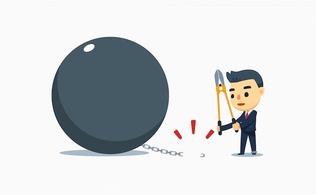 Een zakenman snijdt de ketting van de last. vector illustratie