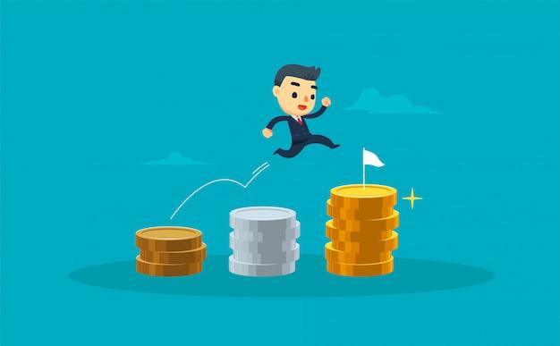 Een zakenman springt door stapel munten. vector illustratie