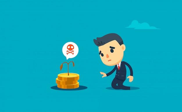 Een zakenman treurt over zijn dode geldgewas