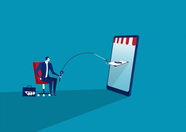 Een zakenman vangt groot geld met een hengel uit mobiele telefoon