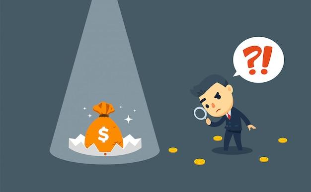 Een zakenman voert het financiële onderzoek uit