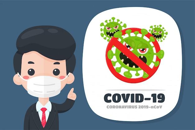 Een zakenman wees met zijn vinger naar het tekstvak om voorlichting te geven over het gevreesde coronavirus