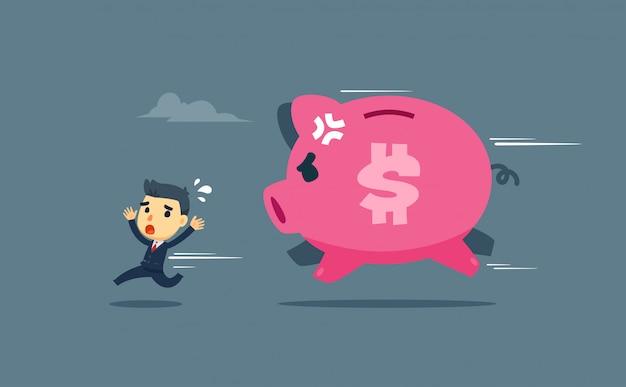 Een zakenman wordt achtervolgd door een gigantisch varken.