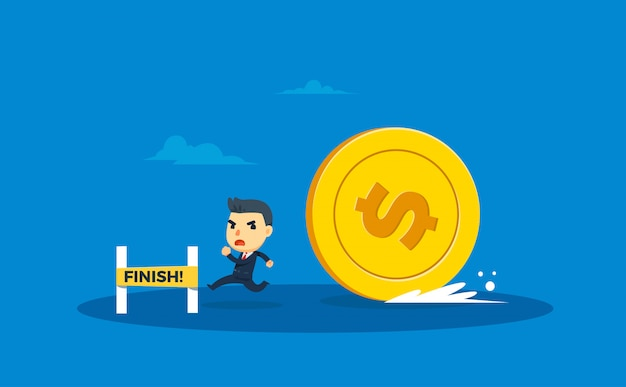 Een zakenman wordt achtervolgd door grote munten. vector illustratie