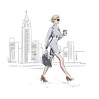 Een zakenvrouw gaat aan het werk. megapolis. vector hand getekende illustratie.