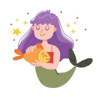Een zeemeermin met paars haar knuffelt een vis. onderwaterwereld, sprookje, kindillustratie. illustratie voor kinderboek. leuke poster. sirene. zee thema.