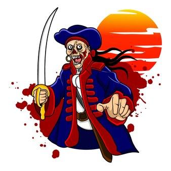 Een zeer wrede piraat met een schedelhoofd