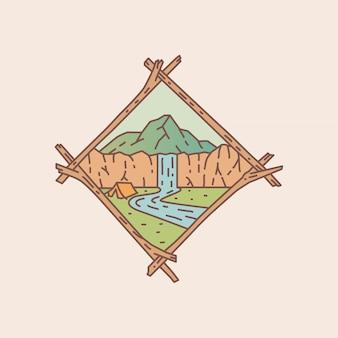 Een zicht op waterval monolie badge