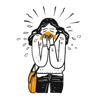 Een ziek meisje niest