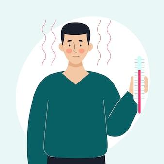 Een zieke man houdt een thermometer in zijn hand concept zieke mensen koorts, verkoudheid en virale ziekten