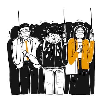 Een zieke man in de trein niest mensen