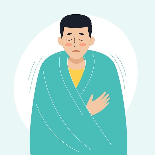 Een zieke man is gewikkeld in een warme deken het concept van zieke mensen verkoudheid en virale ziekten