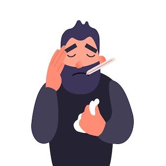 Een zieke man met een thermometer in zijn mond die zijn hoofd vasthoudt