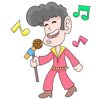 Een zingende man met een elvis presley-stijl microfoonstandaard, vectorillustratieart. doodle pictogram afbeelding kawaii.