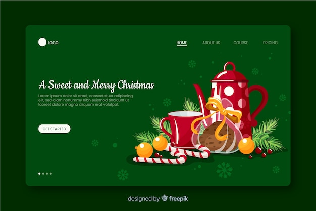 Een zoete en vrolijke kerstlandingspagina
