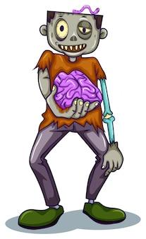 Een zombie die zijn hersenen vasthoudt