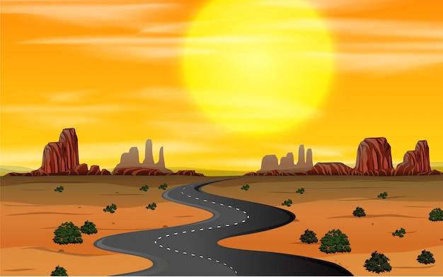 Een zonsondergang in het wilde westen