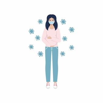 Een zwangere vrouw tijdens de covid 19-coronavirusepidemie. vector plat karakter.