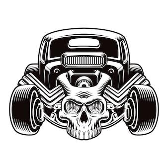 Een zwart-wit afbeelding van een cartoon hot rod met een schedel geïsoleerd op een witte achtergrond.