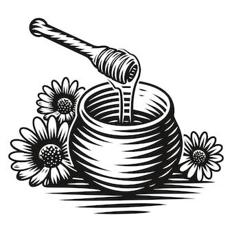 Een zwart-wit afbeelding van een honingpot in gravurestijl op witte achtergrond