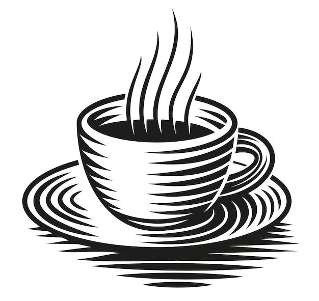 Een zwart-wit afbeelding van een kopje koffie geïsoleerd op een witte achtergrond