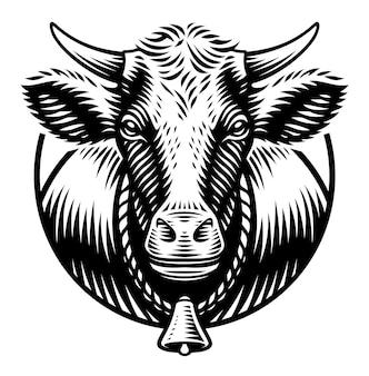 Een zwart-wit afbeelding van koe in gravurestijl op witte achtergrond