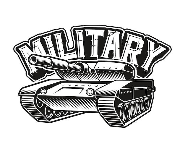 Een zwart-wit embleem van een tank