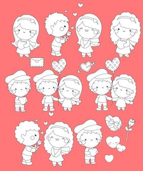 Een zwart-wit set van schattig meisje en jongen liefde elkaar tonen