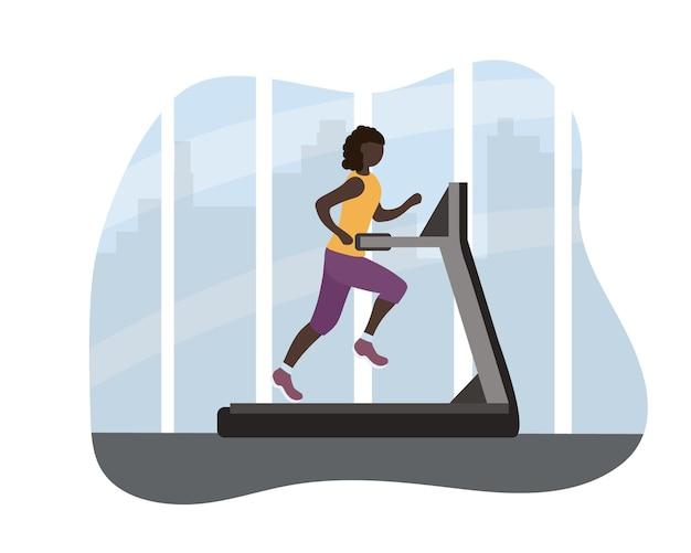 Een zwarte afrikaanse vrouw op een loopband. elke dag atletische training, gezonde levensstijl. sporten in het fitnesscentrum tegen de achtergrond van de grote stad. comfortabele kleding om te sporten. vector plat
