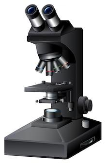 Een zwarte microscoop op witte backgroung