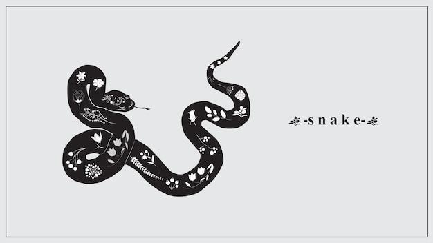 Een zwarte slang met witte bloemen en planten.